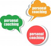 Personal Coaching, Set Of Stickers, Labels, Tags. Template For Infographics