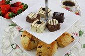 Cake tray with scones and chocolates