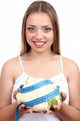 Beautiful girl with cabbage and measuring tape, isolated on white