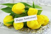 Happy Anniversary card with yellow tulips