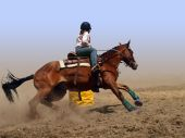 pic of barrel racing  - Cowgirl Rounding a Drum in the Barrel Race with clipping path - JPG