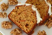 Carrot and walnut cake with marzipan icing