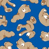 Rolling Teddy Bear Seamless Pattern