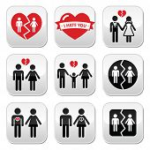 Couple breakup, divorce vector buttons set