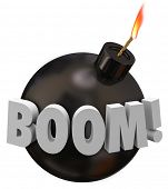 image of time-bomb  - Boom word on a round black bomb with wick and flame warning you of danger explosion - JPG