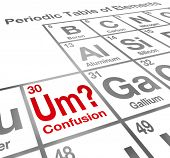 Um the Element of Confusion words on a periodic table difficult lesson, misunderstanding