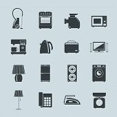 Set of household appliances silhouette icons