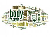 High resolution concept or conceptual abstract body health word cloud or wordcloud on white backgrou