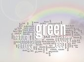 Concept or conceptual abstract green ecology and conservation word cloud text, rainbow sun backgroun