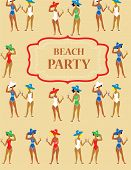 Beach party funny invitation - cartoon vintage