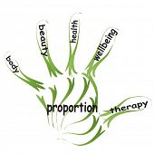 Conceptual abstract health or sport word cloud man hand print on white background