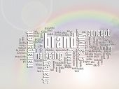 Concept or conceptual abstract business marketing word cloud or wordcloud, rainbow sun background