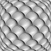 Design Monochrome Warped Grid Sphere Pattern