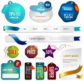 Blue Modern Tags, Labels, And Headers Design With Sample Text (vector)