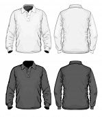 Men's polo-shirt design template (front, back and side view). Long sleeve. No mesh. Vector illustrat