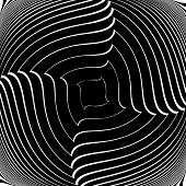 Design Monochrome Vortex Movement Illusion Background