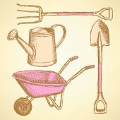 Garden Fork, Barrow, Watering Can And Shovel,  Background