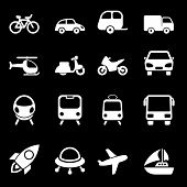 White Transport Icons
