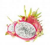 Fresh Dragon Fruit On White