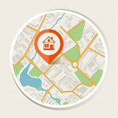 City map abstract background with marker home.