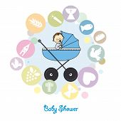 picture of baptism  - Baby boy baptism invitation card - JPG