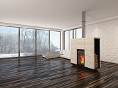 Large spacious empty living room interior with a fire burning in an insert woodburner , large view w