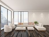 Modern minimalist sitting room interior with a bare wooden parquet floor, contemporary upholstered l