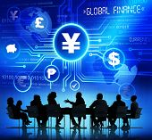 Business People in a Meeting and Global Finance Concepts