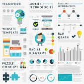 Set of Infographic Elements. Business Icons, Idea Concept. Teamwork and Mobile Technologies Elements