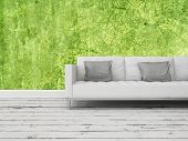 Generic white sofa with grey cushions standing on grungy white painted wooden floorboards against a