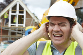 image of noise pollution  - Construction Suffering From Noise Pollution On Building Site - JPG