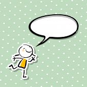 Little girl, smiling kid with blank speech balloon, communicating a message. Empty speech bubble with copy space.