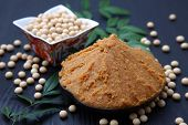 picture of soybeans  - studio shot of soybean paste MISO and soybeans - JPG