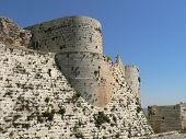 foto of crusader  - Krak castle inner fort, Crusaders castle in Syria