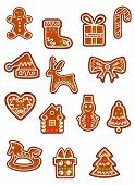 Brown Christmas gingerbreads and cookies
