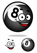 Cartooned eight pool ball with happy face