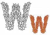 Uppercase letter W in a foliate font