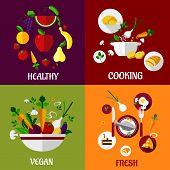 Colored fresh healty food flat design