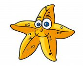 Cartooned yellow star fish with smiling face