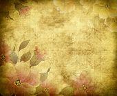 Old Grunge Floral Paper Background.