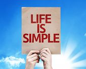 Life Is Simple card with sky background