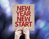 New Year New Start card with colorful background with defocused lights