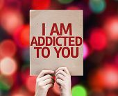 I Am Addicted To You card with colorful background with defocused lights