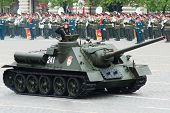 MOSCOW - 6 May 2010: SU-100, Dress rehearsal of Military Parade on 65th anniversary of Victory in Great Patriotic War on May 6, 2010 on Red Square in Moscow, Russia