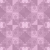Patchwork Retro Checkered Floral Fabric Texture Pattern Background
