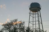 Water Tower At Sunset