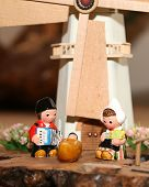picture of nativity scene  - statues of the Nativity scene with Holy Family in Dutch style and a windmill - JPG