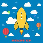 Yellow rocket and white cloud, icon in flat style isolated on blue background, conceptual of start u