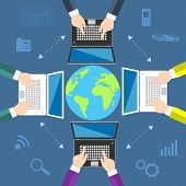Teamwork. Concept of global business communication. Laptops and businessmen around the globe. Flat v