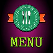 Vector illustration card. Restaurant menu label with flatware icon - knife, spoon, fork. EPS10